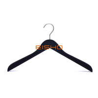 Black Flocking Hanger Can Be Customized Logo For Clothing Store