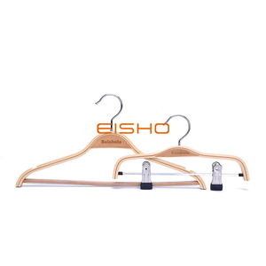 Custom Light Laminated Wood Suit Pants Hanger With Clips